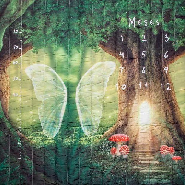 tapete mesversário acompanhamento mensal dupla face verde tema mundo das fadas use alce