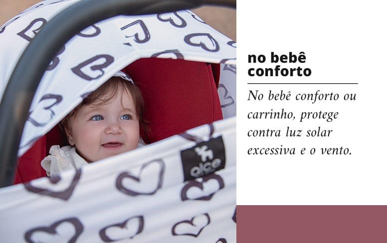Capa multifuncional para bebê conforto ou carrinho, protege contra luz solar excessiva e o vento.