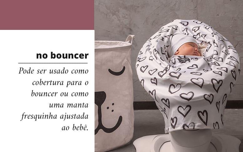 Capa multifuncional para bouncer pode ser usado como cobertura para o bouncer ou como uma manta fresquinha ajustada ao bebê.