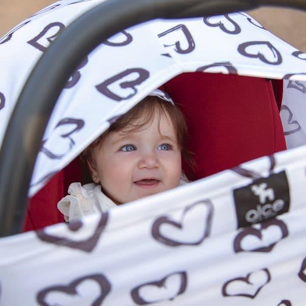 capa multifuncional cover branco estampa coração tema coração proteção solar uv 50+ use alce