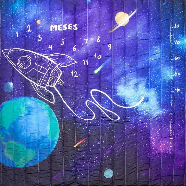 tapete mesversário acompanhamento mensal dupla face tema espacial use alce
